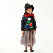Korean style new Christmas winter fleece warm stickers tree embroidered three-dimensional hair ball childrens sweater