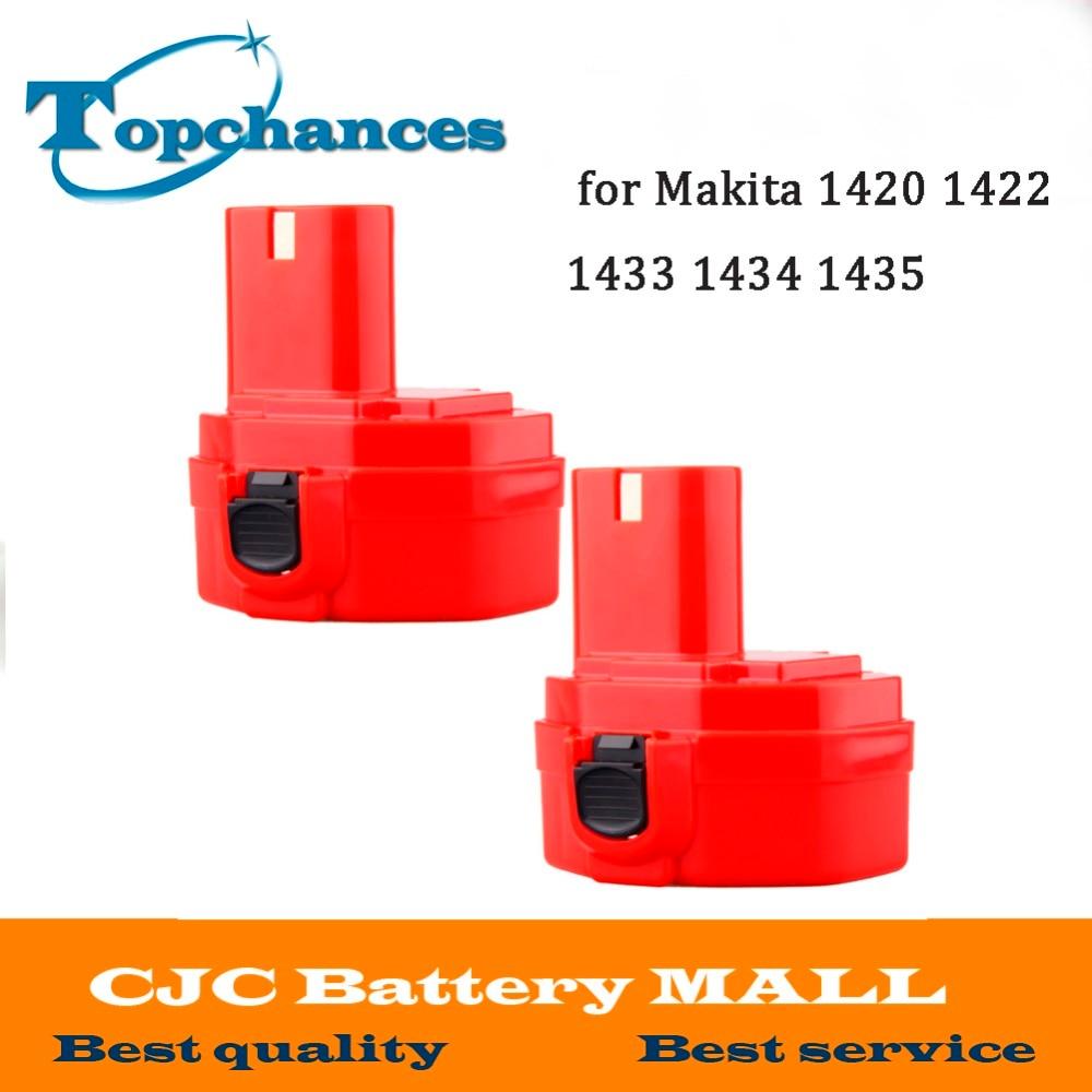 2X 14.4V 2000mAh NI-CD Replacement Battery for Makita 1420 1422 1433 1434 1435 1435F 4000 6000 Series 192699-A 193158-3 Red 2pcs lot ni cd 14 4v 3000ma rechargeable battery pack for makita power tools cordless drill pa14 1433 jr140d 1422 1420