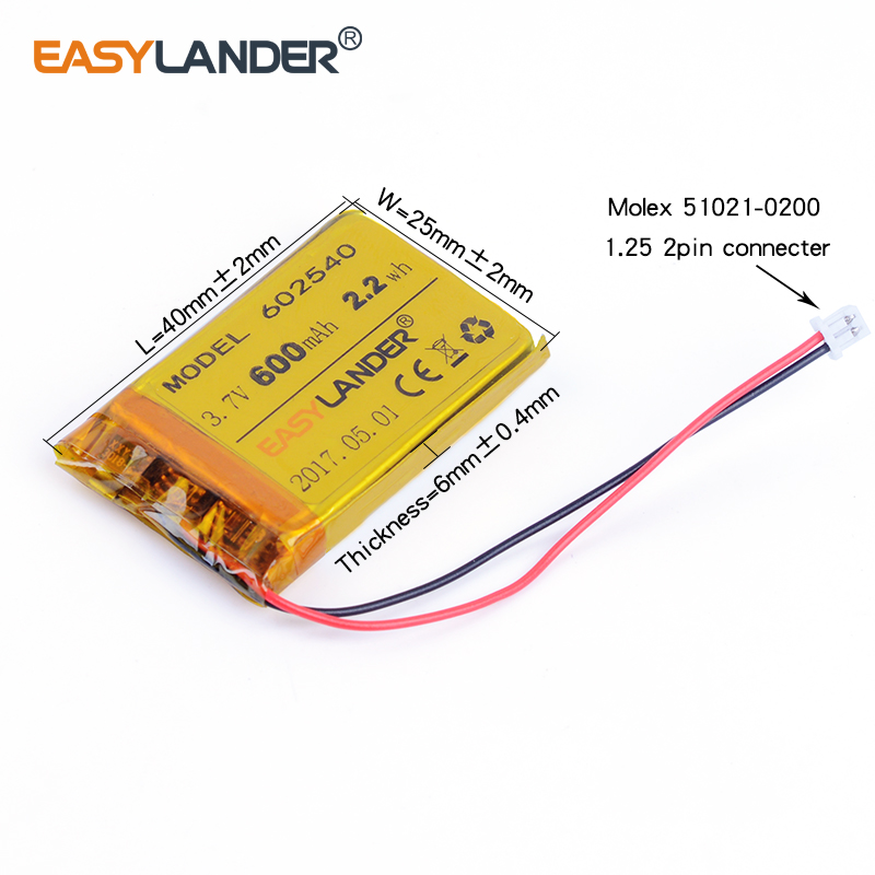 602540 3.7V 2.2wh 600mAh Rechargeable Li-Polymer Li-ion Battery For DVR RECORD MP3 MP4 TOYS GPS SMART WATCH SPORT CAMERA