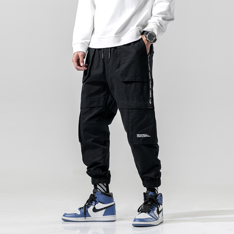Western Style Color Patchwork Multi-Pockets Men's Jogger Trousers Hip Hop Spring Male Harem Pants Ribbons Fashionable Streetwea