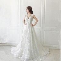 Vestido De Noiva Amazing V neck Wedding Dress 2018 Backless Beading Bohemia Beach Bridal Gown A Line Custom Size Gown