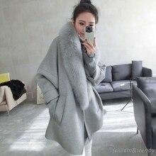 Woman Winter Gray Warm Woolen coat Cheap Chinese Long Down Jacket White Maxi Coat Palto Faux Fur Collar Korean Cloak Clothing