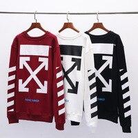 OFF WHITE C/O VIRGIL ABLOH trend loose hip hop street long sleeve round neck striped plus velvet Sweatshirt Hoodie men jacket