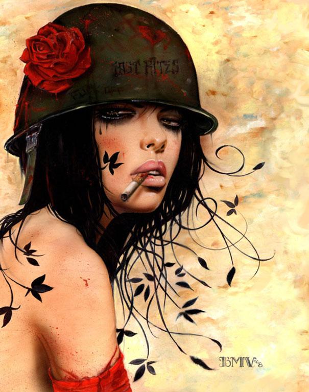 Art Smoking Girl Painting