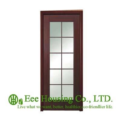 40mm Thickness Glazed Timber Veneer Door For Apartment, Swing Type Door, Inward & Outward Opening Entry Door, MDF Timber Door
