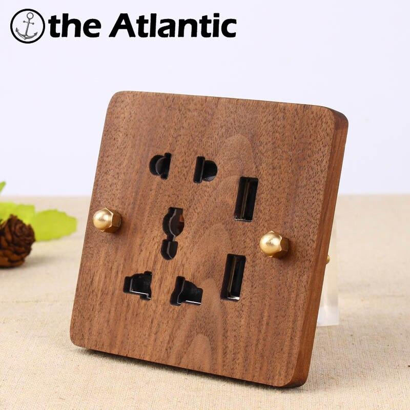 цена на 2017 Hand Made Wall Socket 5 Hole With USB Socket Universal Standard European Retro 10A 110-250V Wood Panel Brass Lever 86*86mm
