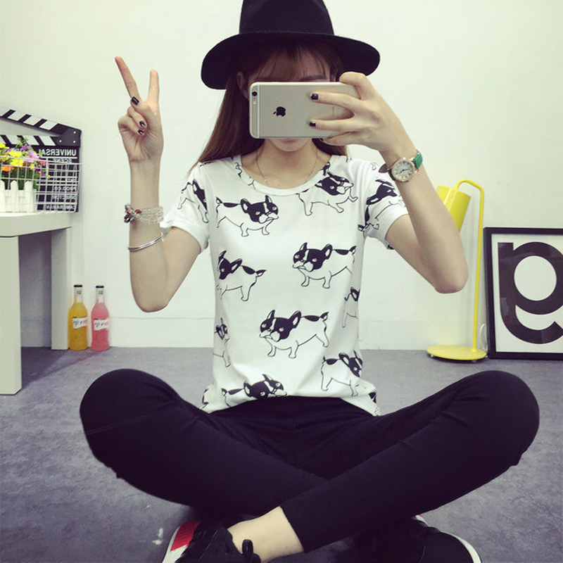 Fashion Summer Women Cartoon O-Neck Hvid Pug Printed Short Sleeve - Dametøj - Foto 3