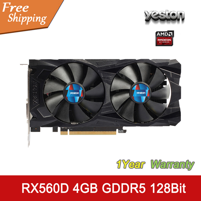 YESTON Graphics Card Radeon RX560D 4GB GDDR5 128bit HDMI DVI DP 896SP Original Desktop Graphics Card