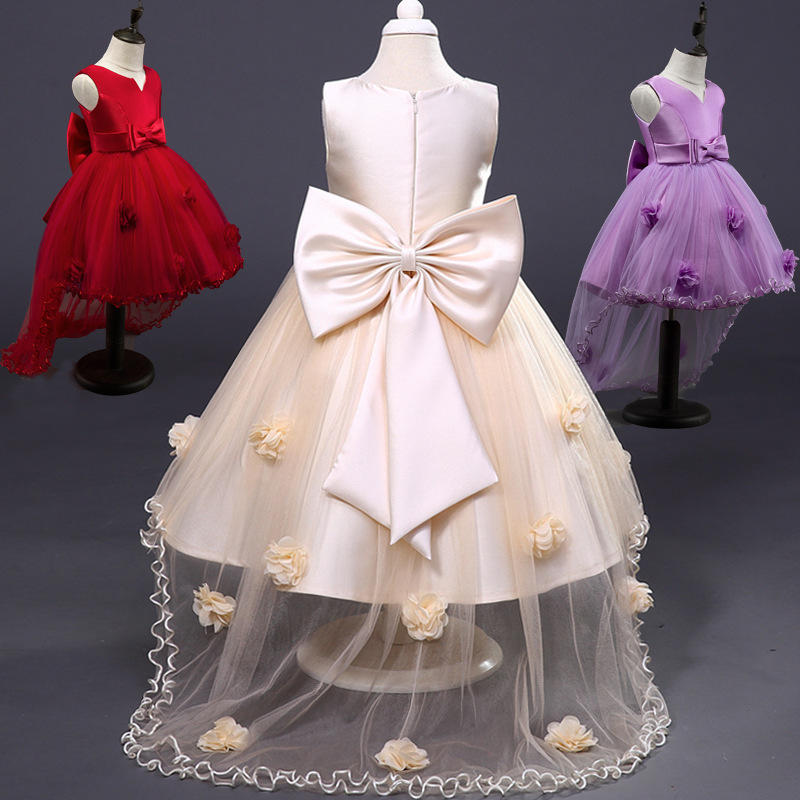 Flower Girl Dress Children Red Mesh Trailing Butterfly Girls Wedding Dress Kids Ball Gown Embroidered Bow Party Dress girl