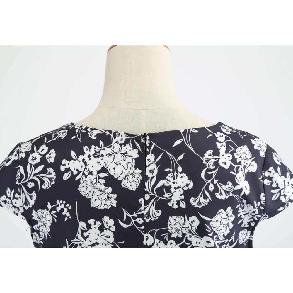 Bebovizi Verão Preto Curto Plus Size Mulheres Moda 2019 Vestidos de Flor de Impressão Hepburn 50s Do Vintage Com Decote Em V Sexy Festa Casual vestido