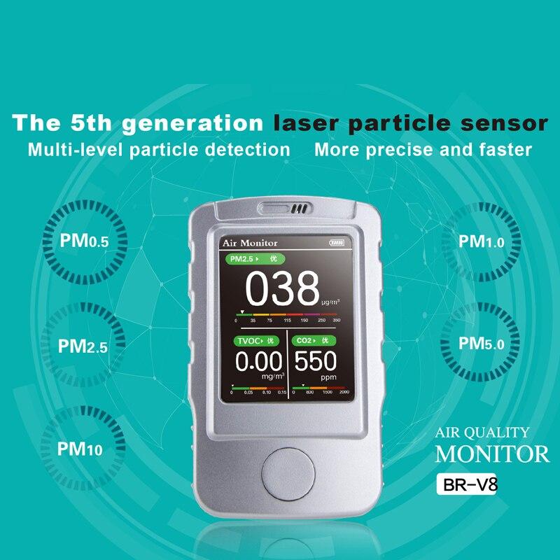PM1.0 PM2.5 PM10 TCOV CO2 Qualité De L'air Détecteur Moniteur D'étalonnage Portable Moniteur De Détecteur D'air CO2 PM2.5 détecteur de gaz