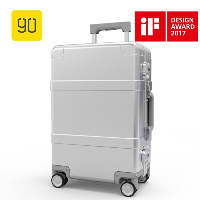 Xiaomi 90FUN Métal Bagages En Alliage D'aluminium Carry-Ons Bagages À Roulettes Valise Haute Résistance Sac TSA Déverrouiller Argent 20 Pouce