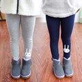 2017 otoño e invierno más el terciopelo engrosamiento de algodón niñas pantalones Flacos niños pantalones conejo Modelado bebé Legging