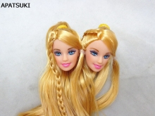 2pcs lot DIY Kids Toy Golden Hair Princess Doll Head Doll Accessories For Barbie Doll For