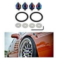 Mayitr 4pcs Set Colorful Car Bumper Quick Release Aluminum Fastener Kit For Truck Fender Hatch Lids