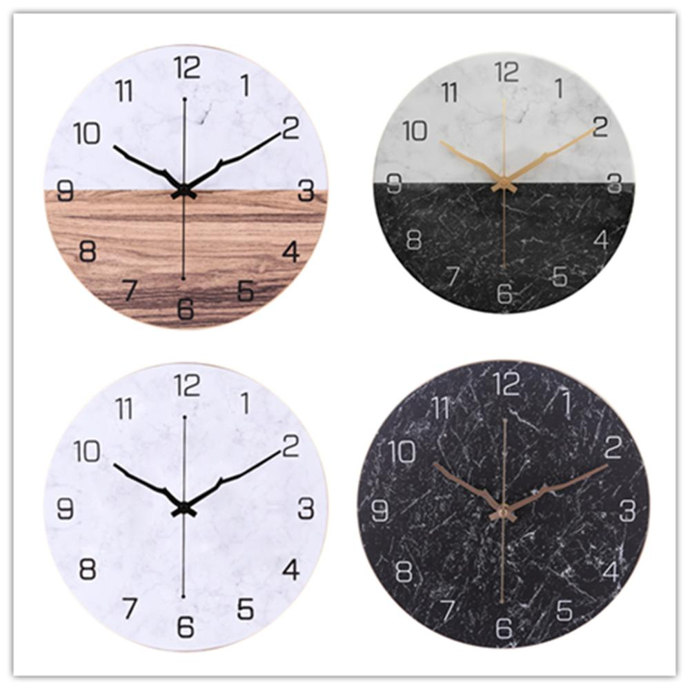 30cm Iron Arabic Numerals Mute Wall Clock Battery Operated Wall Clock For Living Room Cafe Decor - Light Wood Grain