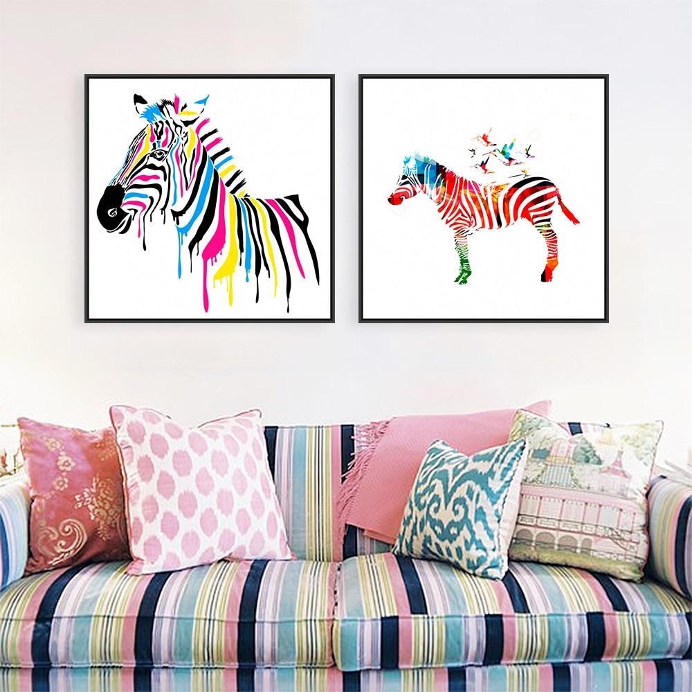 Sodobna divjad, barvita zebra risanka živali A4 velik umetniški - Dekor za dom - Fotografija 1