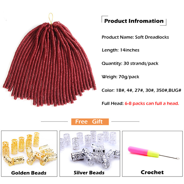 SAMBRAID Soft Dreadlocks Crochet Braids 14 inches Synthetic Braiding Hair 30 Roots Crochet Hair Extensions For Women
