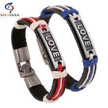Leather Bracelet Charm Bracelets For Women Love Alloy Braided Men Couples Jewelry