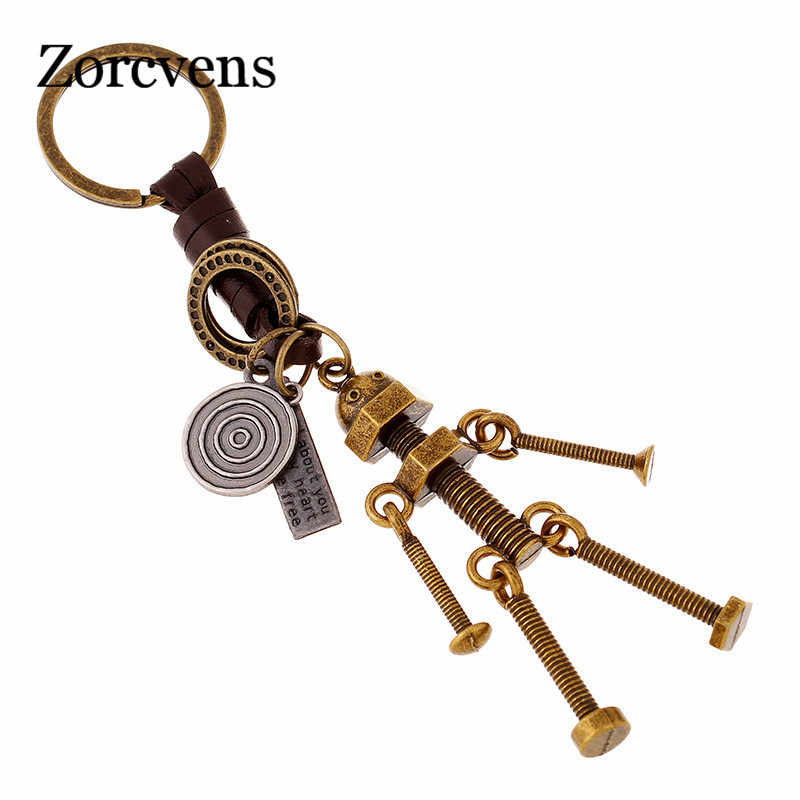 ZORCVENS 2019 New Punk Vintage Men Robot Keychain Copper Alloy Genuine Leather Key Chains Hand Made