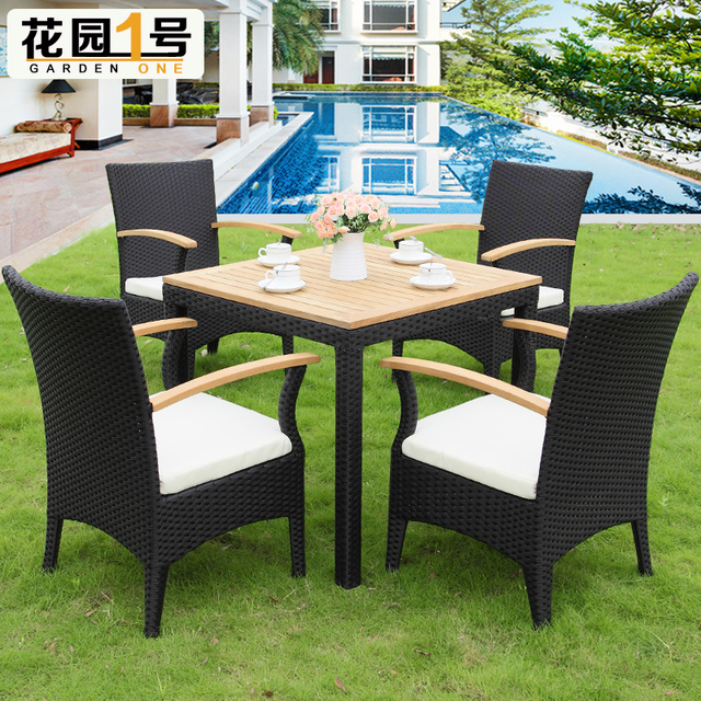Outdoor furniture rattan casual cafe tables and chairs courtyard balcony  Five-piece solid wood coffee - Outdoor Furniture Rattan Casual Cafe Tables And Chairs Courtyard