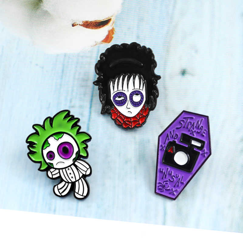 Personality Brooch Combination Spider Web Black Eye Girl Green Weird Doll Coffin STRANGE AND NSVAL Badge Enamel Pin Funny Gifts