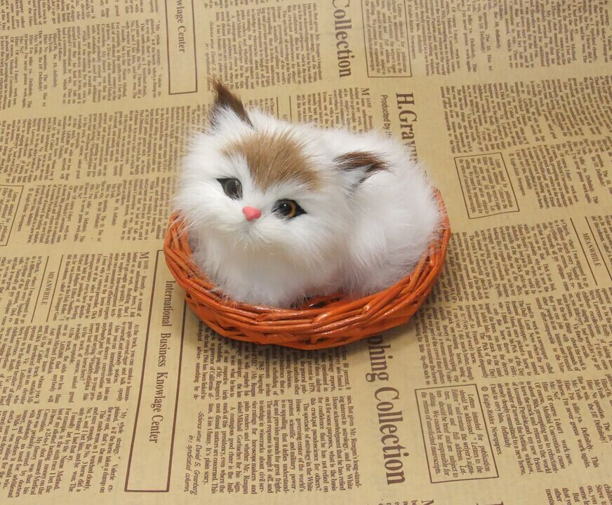 small cute simulation cat polyethylene fur lovely cat model in a basket gift about 12x10cm116 in stuffed plush animals from toys hobbies on