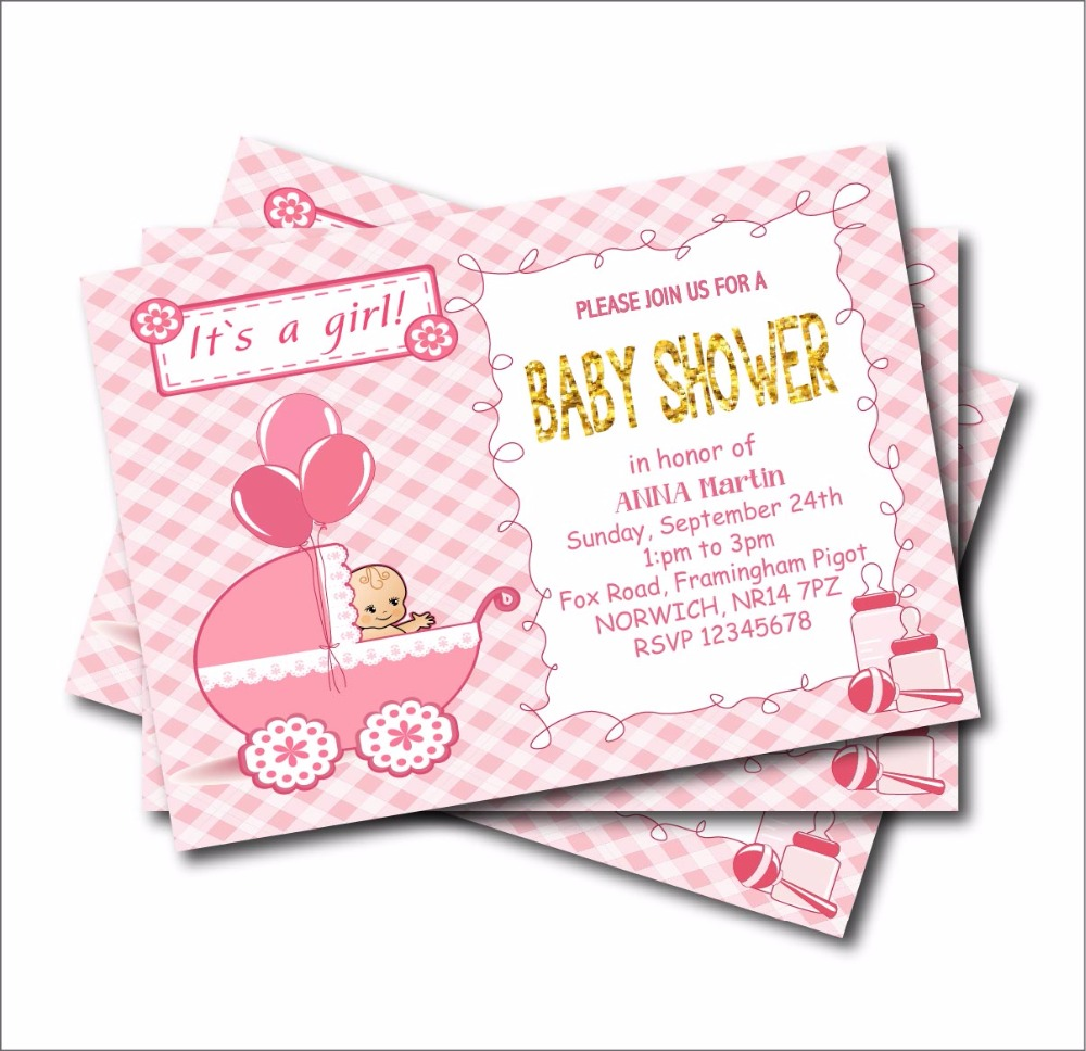 Us 5 39 40 Off 14 Pcs Lot Personalized New Born Baby Shower Invitation For Girl Birthday Invites Kids Party Decoration Supply Free Shipping In Cards