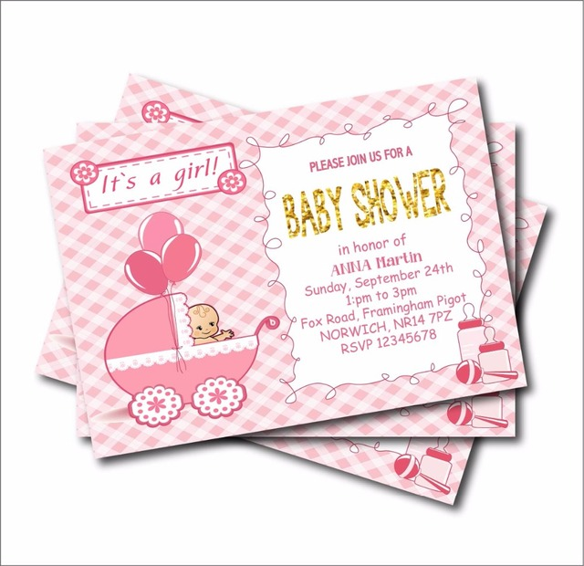 20 Pcs Lot Personalized New Born Baby Shower Invitation For Girl