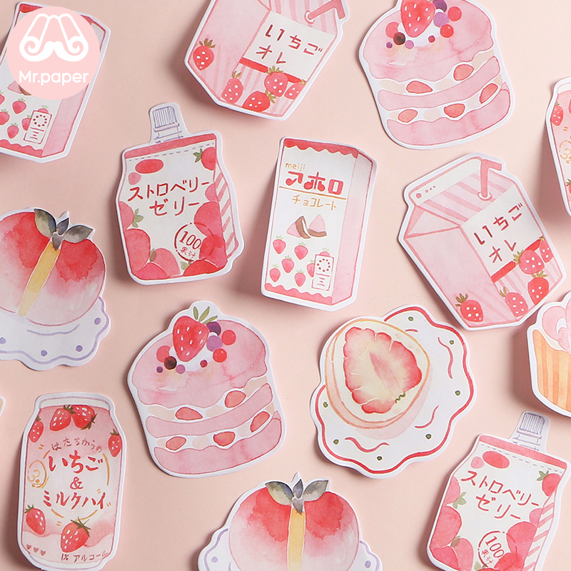 Mr Paper 30pcs/lot 8 Designs Pink Sweet Snack Memo Pad Sticky Notes Notepad Diary Creative Stationery Self-Stick Notes Memo Pads
