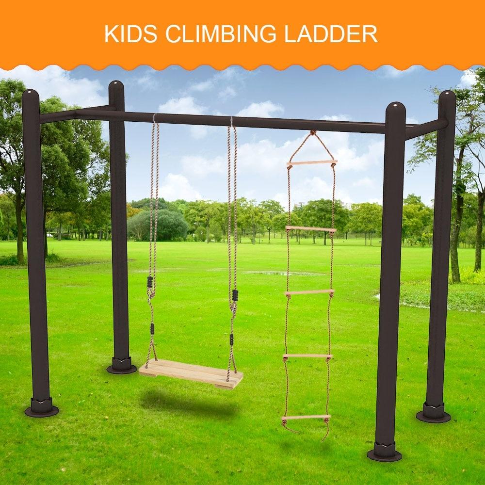 New Child Outdoor Sturdy Indoor Rope Climbing Ladder 5 Rungs Ladder Kids Children Park Playground Yard Toy Play Fun Sports Tool