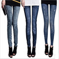 Seamless Printing pants pleated jeggings wearing white faux denim elastic women leggings plus size jeans ankle length trousers