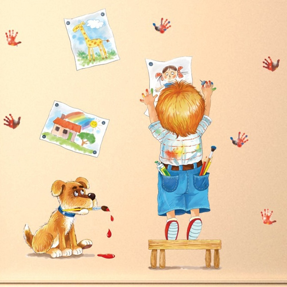 Funny Dog Boy Picture Girl Wall Sticker DIY Home Decal Art Poster ...