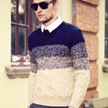 Sweater pullovers Men fashion casual contrast color Striped knitting Sweaters Winter Men's O-Neck Jumpers pullover sweater M-2XL