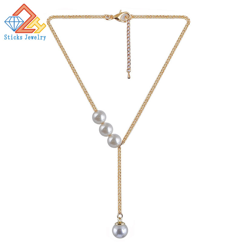 White Imitation Pearl Trendy Necklace Costume Jewelry Fashion Statement Sexy Wedding Chain Necklace Women Ornaments