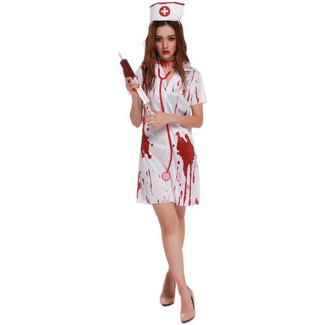 Sexy Nurse Костюм призрака для женщин Хэллоуин canival COS scarey Косплэй Fantasia Infantil Анастасия veilfancy упругой платье