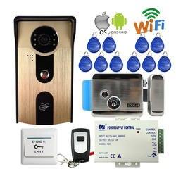 Бесплатная доставка RFID доступ беспроводной Wifi видео домофон открытый дверной Звонок камера для Android IOS Телефон + Электрический замок