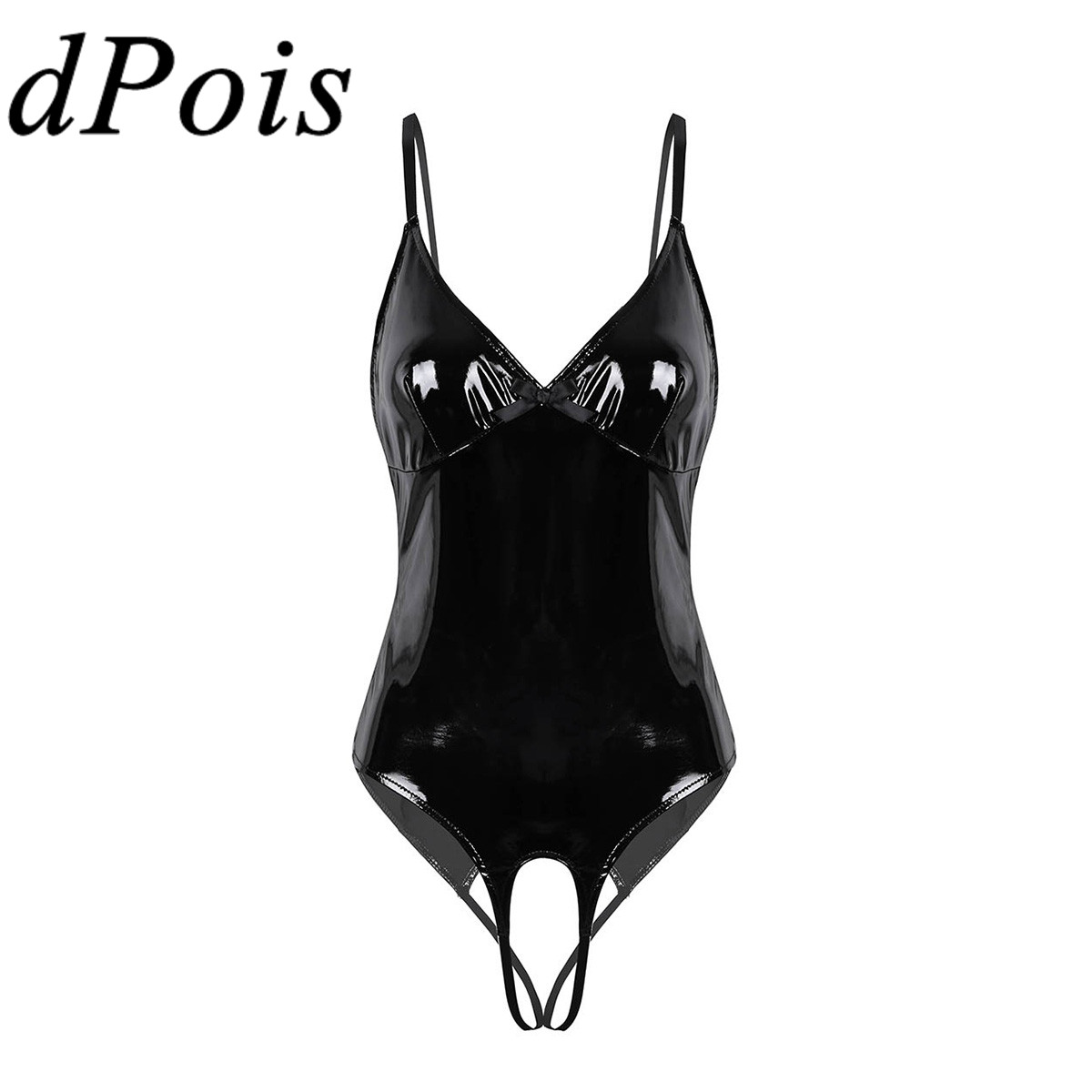 Sexy Lady Wet Look Black Patent Leather Latex Catsuit Exotic Lingerie Bodysuit Women Open Crotch Romper High Cut Thong Leotard