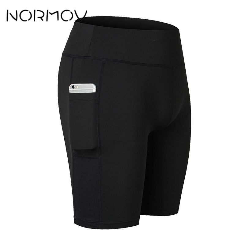 NORMOV Solid High Waist Running Shorts Women Fitness Clothes Pocket Sweat Yoga Shorts Female Athletic Short Sport Femme 6 Color causal high waist asymmetric solid color shorts for women