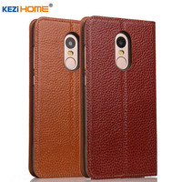 Xiaomi Redmi Note 4 Case Cover Kezihome Genuine Leather Phone Bag Cover Flip Wallet Coque Case