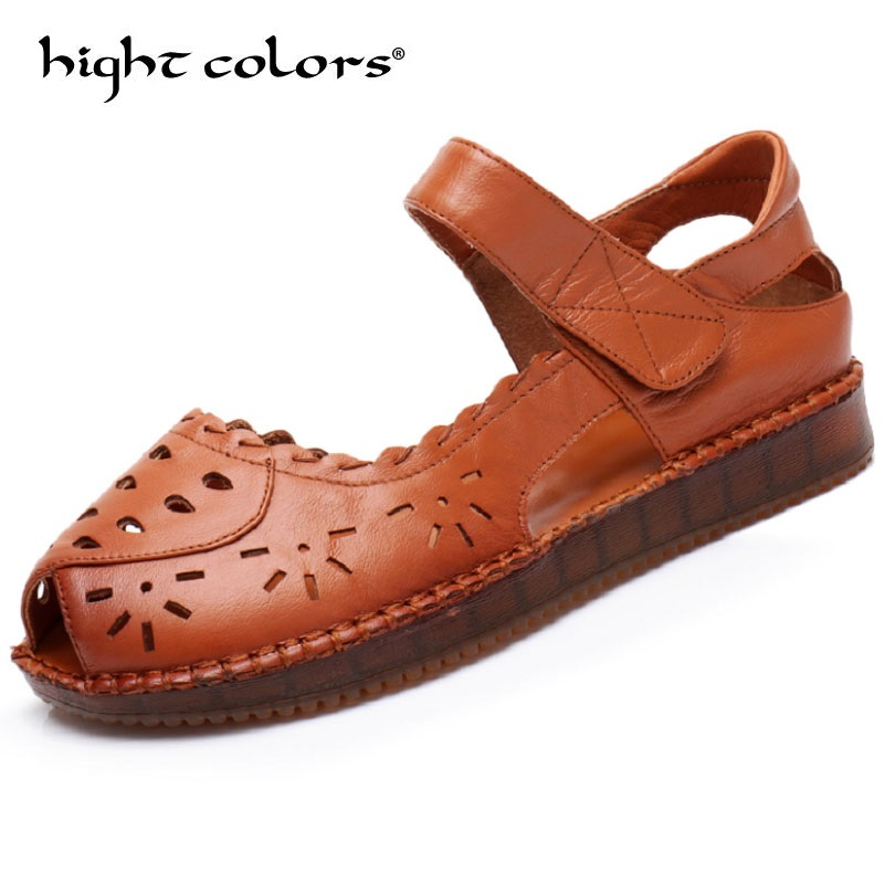 2018 Summer Mother Shoes Flat Sandals Women Genuine leather Soft bottom Solid colors Fashion Sandals Comfortable Shoes timetang mother sandals soft leather large size flat sandals summer casual comfortable non slip in the elderly women s shoes