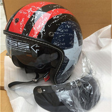 Black Adult Open Face Half Leather Helmet Harley Moto Motorcycle vintage Motorbike Vespa
