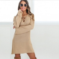 Fashion Women Autumn Sweater Dresses Deep V Neck Long Sleeve Casual Woman Dress Plus Size Bodycon