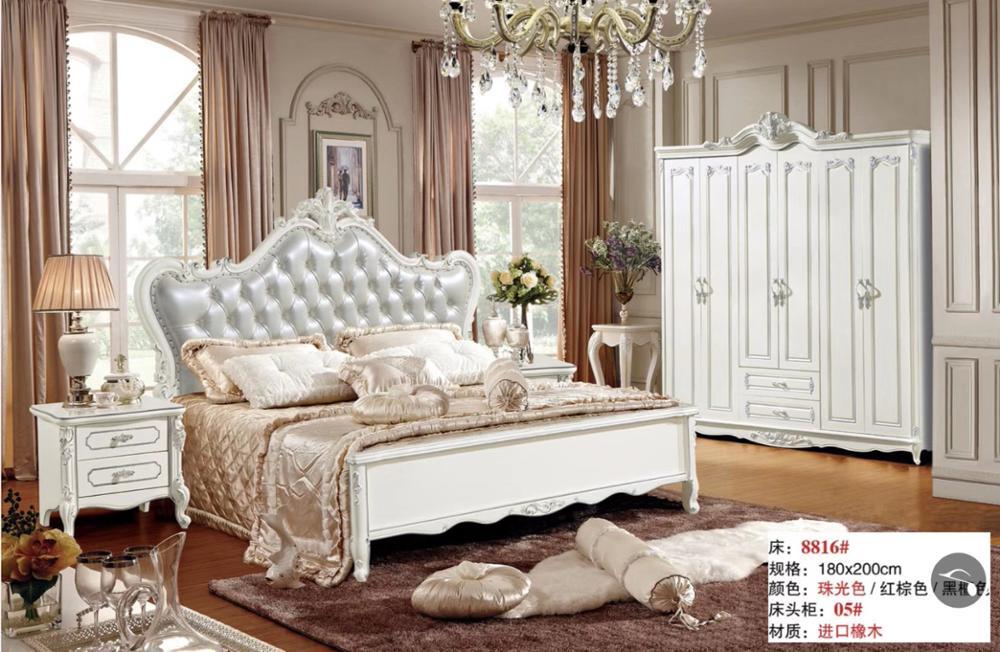 Moderna cama europea de madera maciza tallada a la moda cama de 1,8 m muebles franceses de dormitorio set HMR8816