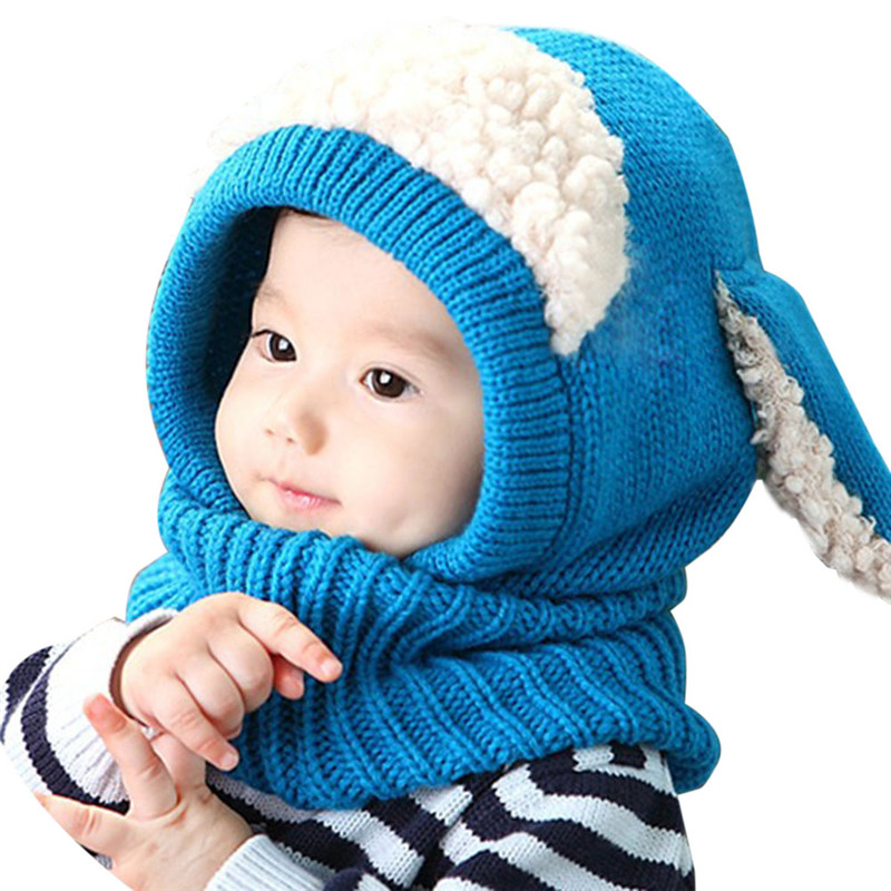 5897c5d8a5b Kids Baby Girls Boys Hats Winter Cute Rabbit Long Ear Hat Soft Crochet Baby  Bunny Hats with Scarf Baby Bonnet Photo Props BP06-in Hats   Caps from  Mother ...