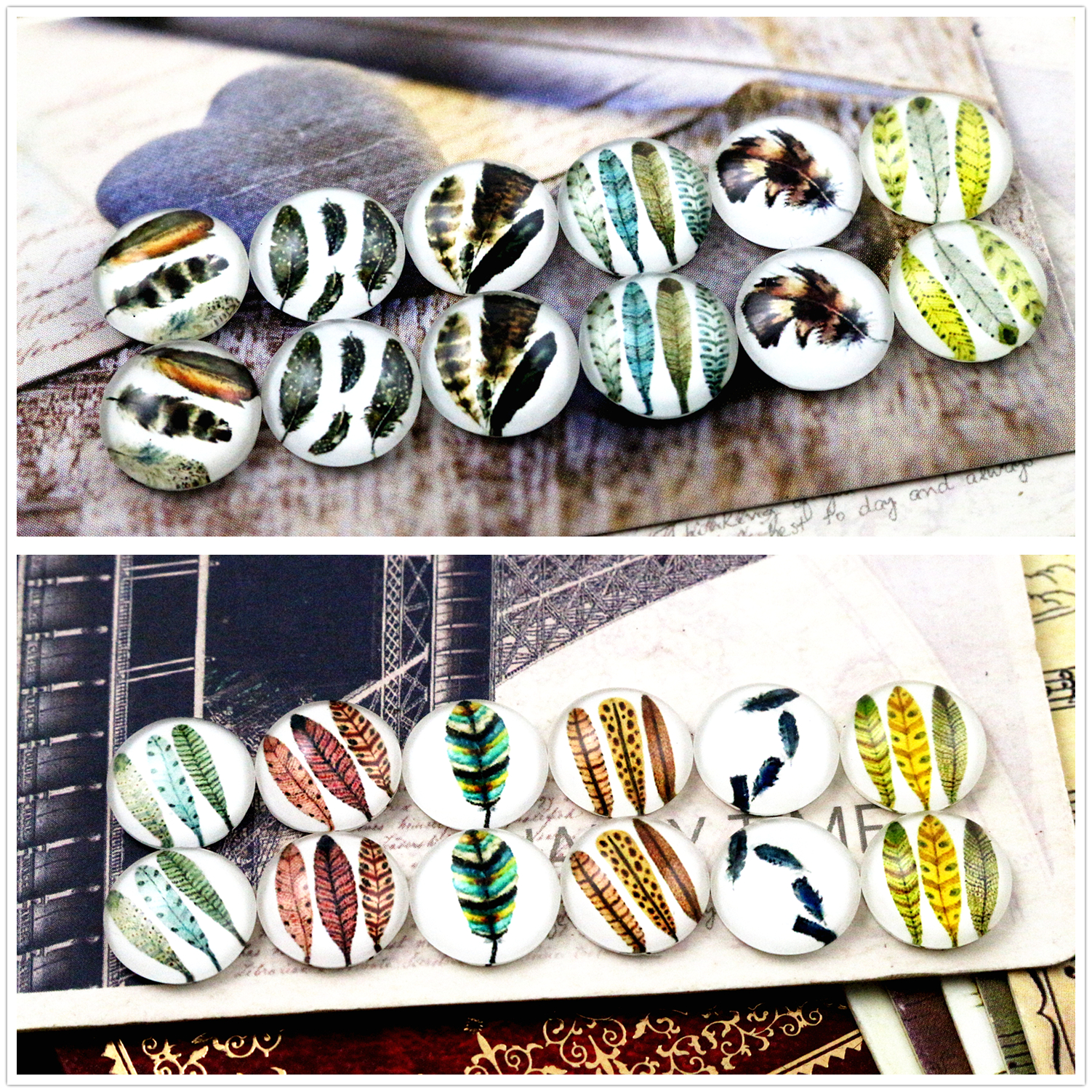 12pcs/lot (One Set) Two Style Fit 12mm Pure Feathers Handmade Glass Cabochons Pattern Domed Jewelry Accessories Supplies