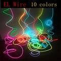 EL Cable 1/2/3/5/10 metros Cable de tubo de cuerda DIY tira de luces de cuerda de neón Flexible luz brillante para decoración de baile de fiesta