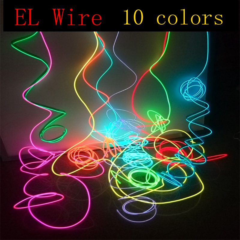 EL Wire 1/2/3/5 / 10Meter Rope Tube kabel DIY Led Strip String Lights Fleksibel Neon Glow Light til festdansdekoration