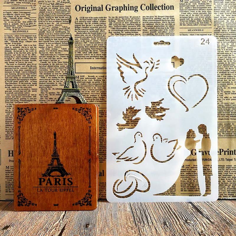 Happiness Lovers Heart Stencils for DIY Scrapbooking Plastic Handmade Template Crafts Art Diary Decor Painting Spray Tool Card in Stamps from Home Garden