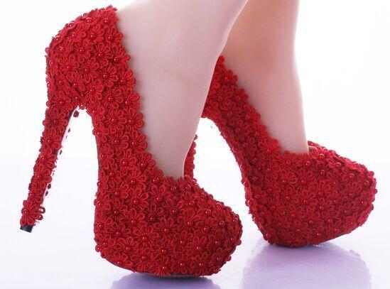 2016 A Altos los zapatos Sexy de Tacones Tacones Boda Resbalón Zapatos Flores de Encaje de Zapatos Las Mujeres Mano Novia de de BlancoRojo Hecho Altos de 55Zwqrp